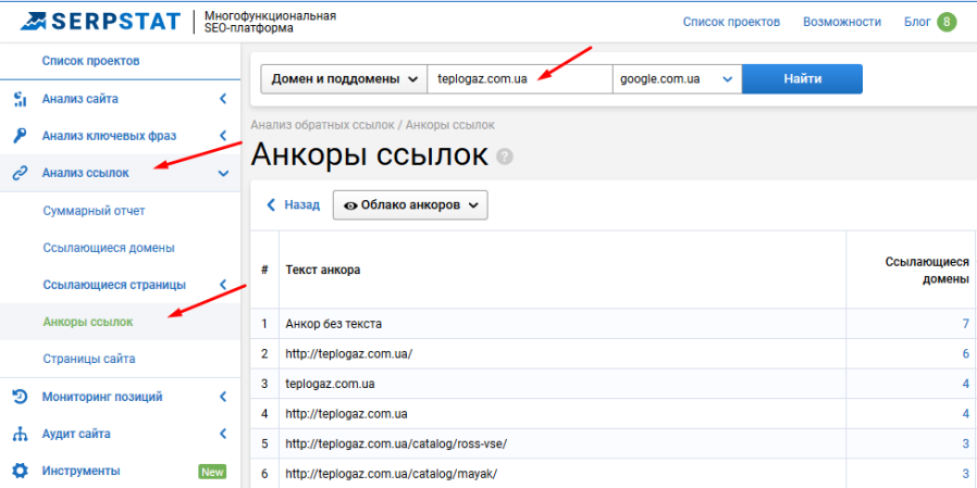 Анализ анкор-листа по Serpstat