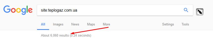 Посмотреть количество страниц в Google